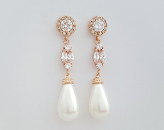 Rose Gold Pearl Earrings Bridal Jewelry Cubic Zirconia Wedding Jewelry Pearl Teardrops Rose Gold Crystal Wedding Earrings, Hayley Earrings
