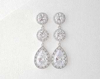 Crystal Earrings Wedding Jewelry Large Crystal Bridal Earrings Cubic Zirconia Drop Earrings Bridal Jewelry, Evita