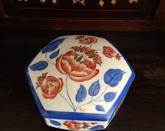 Gorgeous Rare Hand painted 6 sided Limoges Trinket Box