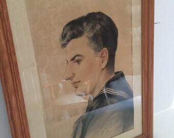 Vintage WWll Soldier Framed Portrait - Signed K.B. Ransley Chicago 1944