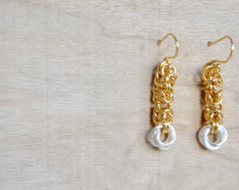 Chainmaille Byzantine Earrings - Two Tone Dangle Earrings - Gold Rings - Silver Rings - Love Knot - Organic Design - By BALOOS
