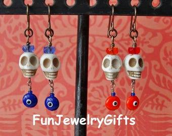 White Howlite Turquoise Skulls, Rondelles, and Turkish Evil Eye French Earwire Earrings