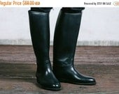 SALE . Vintage Horse RIDING Boots . Mens Black Rubber Jackboots Tall Military Officer Preppy Equestrian Footwear . Eur 42. 5,  US mens 8 1/2