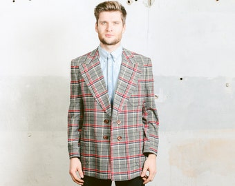 Vintage PLAID Men's Blazer . 60s Bold Check Print Preppy Ivy League Jacket Man Sport Coat Outerwear . Large