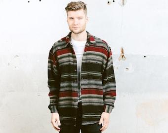 Wool Southwestern Shirt . Mens Vintage 90s Striped Shirt Aztec Jacket Long Sleeve Button Down Winter Grunge Shirt . size Large L
