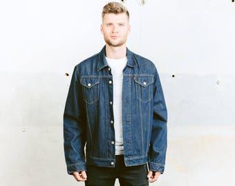 LEVIS 72550 DENIM Trucker Jacket . Jeans Jacket Dark Blue Jacket Red Tab Levis Distressed Jeans Crop Jacket . size Extra Large XL