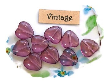 Vintage Heart beads,Amethyst Hearts,Glass Czech hearts,Glass hearts,Valentines Day,9x10mm Purple Lavender Flat #1674ES