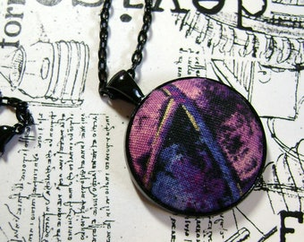 Artsy Pendant, Purple Abstract, Fabric Pendant, Fiber Art, Art Pendant, Art Necklace, Fiber Jewelry, OOAK Necklace - FP22