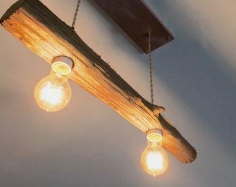 Rustic Chandelier - Driftwood Lamp - Exposed Edison Bulb Chandelier - Cedar Wood Functional Art - Farmhouse Man Cave Bohemian Home Decor