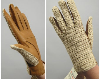 50s 60s Crocheted Back Leather Gloves Made in Spain for Marshall Field and Company // Light Brown // Tan Size 7