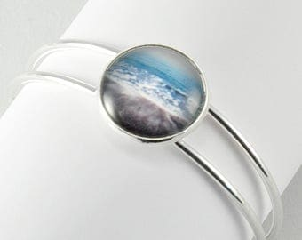Aqua Seascape - Bangle Bracelet -  Silver Plated - Photography - Handmade - Unique Gift - Stackable Cuff -  Wearable Art!