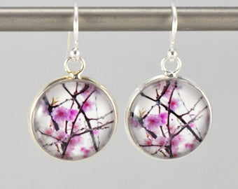 Cherry - Earrings -  Sterling Silver Ear Wires - Photography - Handmade - Unique Gift - Matching Bracelet Available -  Wearable Art!