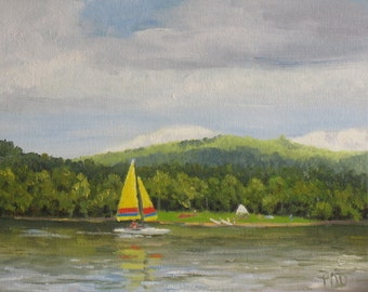 Sailboat painting, small oil painting, summer