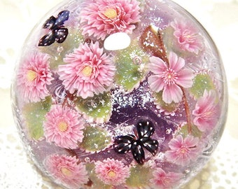 Weeping Cherry Blossom of Double & Single with Butterfly Satake Glass Lampwork Flower Cabochon sra