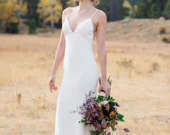 "Silk Crepe Sheath Wedding Gown with train, the ""Calista"" CUT TO ORDER"