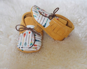 Moccs of the Week Limited Edition Arrows + Suede Leather Handmade Moccasins