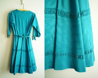 50s Rockabilly Dress, Retro Pin Up Dress, Teal Vintage Dress, 1950s Teal Dress, Vintage Style Dress, 1950s Style Dress, SALE
