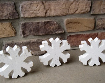 Set of 3 SNOWFLAKE BLOCKS for winter, christmas, shelf, desk, office and home decor