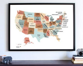 State Capital Map Etsy - Usa state and capital map