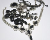 Black and White Jewelry Lot Vintage Rhinestone Destash for Crafts