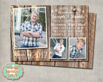 Barn Wood Graduation Announcement, Graduation Photo Collage, Rustic Graduation, Country Graduation Invitation, Vintage Graduation