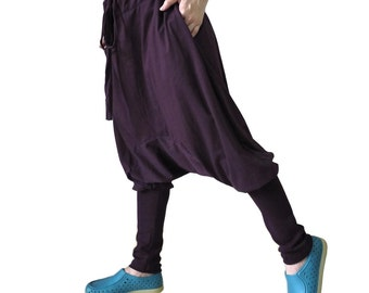 Plum Cotton Jersey Funky Drop Crotch Harem Ninja Yoga Unisex Pants Trousers With Adjustable Drawstring Waist