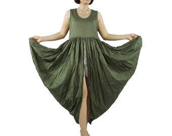 Butterfly - Boho Chic Funky Army Green Light Cotton Lawn Side Drape Long Tanktop Tunic
