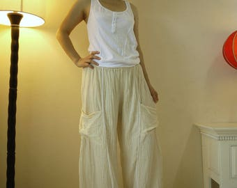Take Me Home...Non- Bleached Creamy White Light Double Gauze Cotton Pants With 2 Roomy Patched Pockets