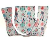 Tote Bag, Dreamcatcher, Native American Bag, Gift for her, Gift, Under 20 dollars, Spring Fashion, Teachers Bag, Grey Tote