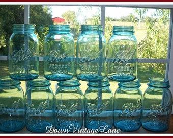 20 Blue Ball Perfect Mason Canning Jars Quart Size Vintage Blue Jars 20 Old Blue Jars
