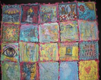 Art Quilt, Art Journal Quilt, A Month of Patches, Peace Love Art, Hippie Art Quilt