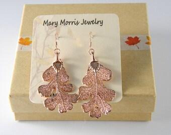Rose Gold Dipped Oak Leaf Earrings, Real Leaf Jewelry