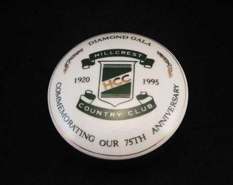 Tiffany & Co. Hillcrest Country Club Golf Trinket Dish Diamond Gala 75Th. Anniversary 1920-1995