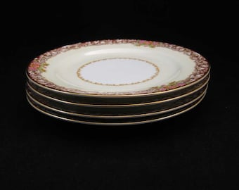 Vintage Noritake Occupied Japan Harmony Red Bread/Dessert Plates (4)