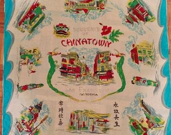 Vintage 1960s Silk Chinatown Souvenir Tourist Scarf kitschy novelty