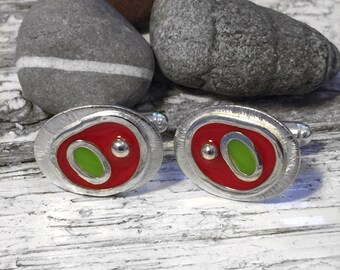 Handmade Silver & Resin Enamel Cufflinks - Red and Lime Green - Men's gift - Birthday - Anniversary - Wedding gift