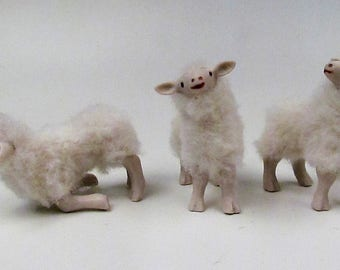 "Doll House Scale Bottle Fed Lambs 2"" Tall  2"