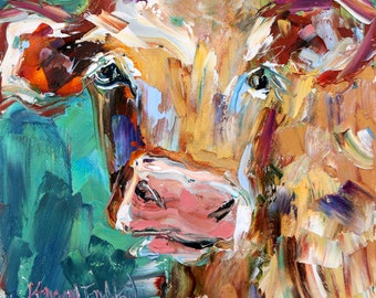 Cow painting Original oil portrait abstract palette knife impressionism on canvas fine art by Karen Tarlton