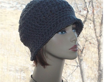 Crochet Womens Brim Hat,   flapper 1920s style hat,   crochet chunky  bucket  hat,    warm soft  hat,   Dark Charcoal, teens hipster hat