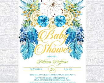 Bohemian Dream Catcher Baby Shower Invitation, Personalized Boy Boho Baby Shower Invitation, Printable Dreamcatcher Baby Shower Invitation