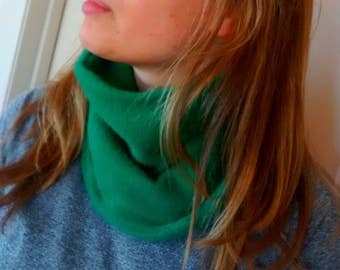 Cashmere cozy neckwarmer, tube scarf, reversible, one size, Kelly green, womens