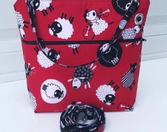 Black Red Sheep Purl Yarn Balls Crochet Knitting Sock Project Case Pouch Wristlet  Boxed Bottom Yarn Hole and Zipper Closure