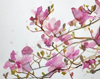 Magnolia Blossoms no. 12 Original Floral Watercolor Painting by Angela Moulton 22 x 16 inches