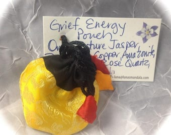 Grief Energy Power Pouch with 7 Natural Crystals and Stones FREE SHIPPING