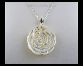 Mother of Pearl Rose Pendant Necklace, 925 Sterling Silver, Twisted Cable Chain, Hand Carved, Luminous, Iridescent, White Shell
