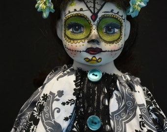 25% Off Price marked  RePainted Porcelain  Doll AZUl Dia de los Muertos Day of the Dead Doll  Catrina ooak creepy cute