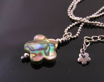 Paua Shell Necklace, Abalone Jewelry, Natural Abalone or Paua Shell Flower Necklace, Matching Earrings Available, Paua Shell Jewelry, N1920