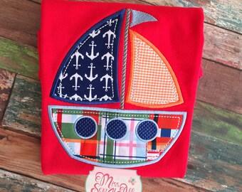 Boys Sailboat Shirt, Custom Sailboat Shirt, Boys Summer Shirt, Sailboat Top, Summer Boat Shirt