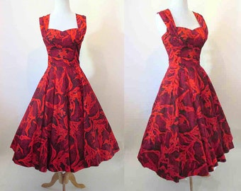 Lovely 1950's Kamehameha Hawiaian Sun Dress Vintage Tiki VLV Rockabilly Pinup girl shelf bust size Small