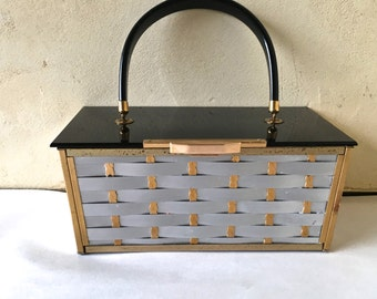 Vintage 1950s Metal and Lucite Basket Purse